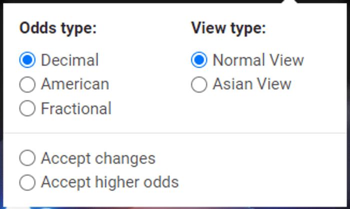Cbet cotações (odds) american, decimal e fracionário, com vista normal e asiática